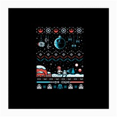 That Snow Moon Star Wars  Ugly Holiday Christmas Black Background Medium Glasses Cloth (2 Side) by Onesevenart