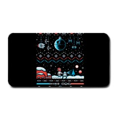 That Snow Moon Star Wars  Ugly Holiday Christmas Black Background Medium Bar Mats by Onesevenart