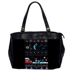 That Snow Moon Star Wars  Ugly Holiday Christmas Black Background Office Handbags by Onesevenart
