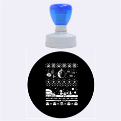 That Snow Moon Star Wars  Ugly Holiday Christmas Black Background Rubber Round Stamps (large) by Onesevenart