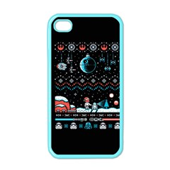 That Snow Moon Star Wars  Ugly Holiday Christmas Black Background Apple Iphone 4 Case (color) by Onesevenart