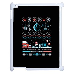That Snow Moon Star Wars  Ugly Holiday Christmas Black Background Apple Ipad 2 Case (white) by Onesevenart