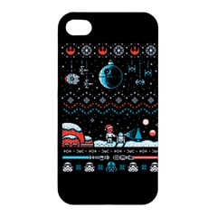That Snow Moon Star Wars  Ugly Holiday Christmas Black Background Apple Iphone 4/4s Hardshell Case by Onesevenart