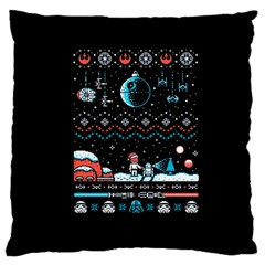 That Snow Moon Star Wars  Ugly Holiday Christmas Black Background Large Cushion Case (two Sides) by Onesevenart