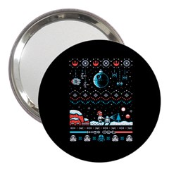 That Snow Moon Star Wars  Ugly Holiday Christmas Black Background 3  Handbag Mirrors by Onesevenart