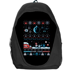 That Snow Moon Star Wars  Ugly Holiday Christmas Black Background Backpack Bag by Onesevenart