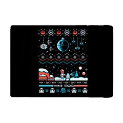 That Snow Moon Star Wars  Ugly Holiday Christmas Black Background Apple Ipad Mini Flip Case by Onesevenart