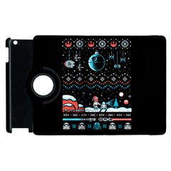 That Snow Moon Star Wars  Ugly Holiday Christmas Black Background Apple Ipad 2 Flip 360 Case by Onesevenart