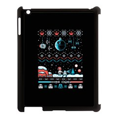 That Snow Moon Star Wars  Ugly Holiday Christmas Black Background Apple Ipad 3/4 Case (black) by Onesevenart