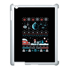That Snow Moon Star Wars  Ugly Holiday Christmas Black Background Apple Ipad 3/4 Case (white) by Onesevenart