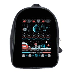 That Snow Moon Star Wars  Ugly Holiday Christmas Black Background School Bags (xl)  by Onesevenart