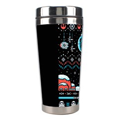 That Snow Moon Star Wars  Ugly Holiday Christmas Black Background Stainless Steel Travel Tumblers by Onesevenart