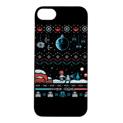 That Snow Moon Star Wars  Ugly Holiday Christmas Black Background Apple Iphone 5s/ Se Hardshell Case by Onesevenart