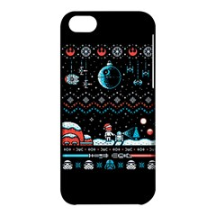 That Snow Moon Star Wars  Ugly Holiday Christmas Black Background Apple Iphone 5c Hardshell Case by Onesevenart