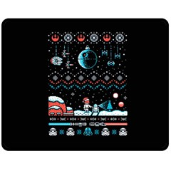 That Snow Moon Star Wars  Ugly Holiday Christmas Black Background Double Sided Fleece Blanket (medium)  by Onesevenart
