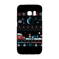That Snow Moon Star Wars  Ugly Holiday Christmas Black Background Galaxy S6 Edge by Onesevenart