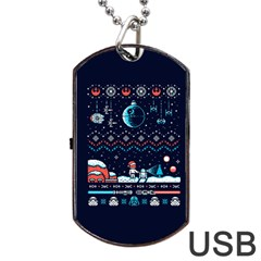 That Snow Moon Star Wars  Ugly Holiday Christmas Blue Background Dog Tag Usb Flash (two Sides)  by Onesevenart