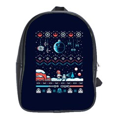 That Snow Moon Star Wars  Ugly Holiday Christmas Blue Background School Bags (xl)  by Onesevenart