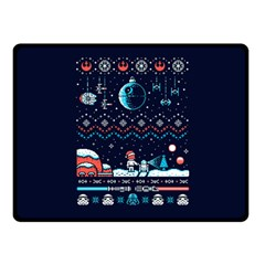 That Snow Moon Star Wars  Ugly Holiday Christmas Blue Background Double Sided Fleece Blanket (small)  by Onesevenart