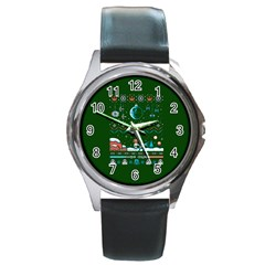 That Snow Moon Star Wars  Ugly Holiday Christmas Green Background Round Metal Watch by Onesevenart
