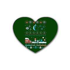 That Snow Moon Star Wars  Ugly Holiday Christmas Green Background Heart Coaster (4 Pack)  by Onesevenart