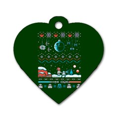 That Snow Moon Star Wars  Ugly Holiday Christmas Green Background Dog Tag Heart (one Side) by Onesevenart