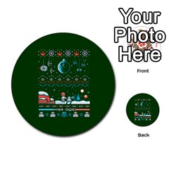 That Snow Moon Star Wars  Ugly Holiday Christmas Green Background Multi Purpose Cards (round)  by Onesevenart