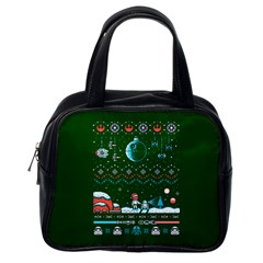 That Snow Moon Star Wars  Ugly Holiday Christmas Green Background Classic Handbags (one Side) by Onesevenart