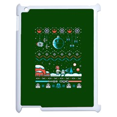 That Snow Moon Star Wars  Ugly Holiday Christmas Green Background Apple Ipad 2 Case (white) by Onesevenart