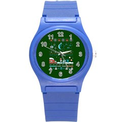 That Snow Moon Star Wars  Ugly Holiday Christmas Green Background Round Plastic Sport Watch (s) by Onesevenart