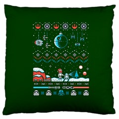 That Snow Moon Star Wars  Ugly Holiday Christmas Green Background Large Cushion Case (two Sides) by Onesevenart
