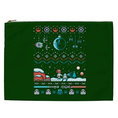 That Snow Moon Star Wars  Ugly Holiday Christmas Green Background Cosmetic Bag (xxl)  by Onesevenart