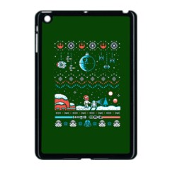 That Snow Moon Star Wars  Ugly Holiday Christmas Green Background Apple Ipad Mini Case (black) by Onesevenart