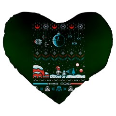 That Snow Moon Star Wars  Ugly Holiday Christmas Green Background Large 19  Premium Heart Shape Cushions by Onesevenart