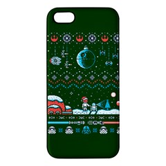 That Snow Moon Star Wars  Ugly Holiday Christmas Green Background Apple Iphone 5 Premium Hardshell Case by Onesevenart
