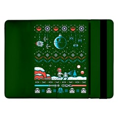 That Snow Moon Star Wars  Ugly Holiday Christmas Green Background Samsung Galaxy Tab Pro 12 2  Flip Case by Onesevenart
