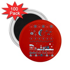 That Snow Moon Star Wars  Ugly Holiday Christmas Red Background 2 25  Magnets (100 Pack)  by Onesevenart