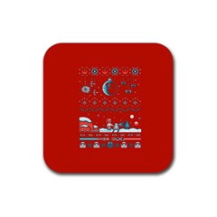 That Snow Moon Star Wars  Ugly Holiday Christmas Red Background Rubber Square Coaster (4 Pack)  by Onesevenart