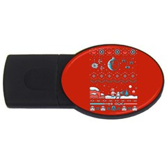 That Snow Moon Star Wars  Ugly Holiday Christmas Red Background USB Flash Drive Oval (2 GB)  by Onesevenart