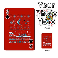 That Snow Moon Star Wars  Ugly Holiday Christmas Red Background Playing Cards 54 Designs  by Onesevenart