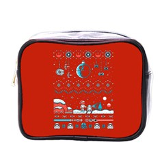 That Snow Moon Star Wars  Ugly Holiday Christmas Red Background Mini Toiletries Bags by Onesevenart