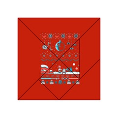 That Snow Moon Star Wars  Ugly Holiday Christmas Red Background Acrylic Tangram Puzzle (4  X 4 ) by Onesevenart