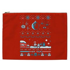 That Snow Moon Star Wars  Ugly Holiday Christmas Red Background Cosmetic Bag (xxl)  by Onesevenart