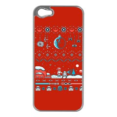That Snow Moon Star Wars  Ugly Holiday Christmas Red Background Apple Iphone 5 Case (silver) by Onesevenart
