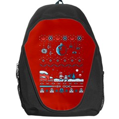 That Snow Moon Star Wars  Ugly Holiday Christmas Red Background Backpack Bag by Onesevenart