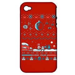 That Snow Moon Star Wars  Ugly Holiday Christmas Red Background Apple Iphone 4/4s Hardshell Case (pc+silicone) by Onesevenart