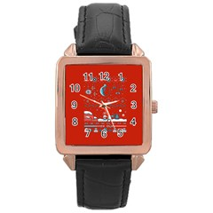 That Snow Moon Star Wars  Ugly Holiday Christmas Red Background Rose Gold Leather Watch  by Onesevenart