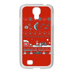 That Snow Moon Star Wars  Ugly Holiday Christmas Red Background Samsung Galaxy S4 I9500/ I9505 Case (white) by Onesevenart