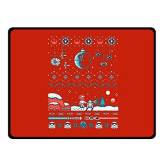 That Snow Moon Star Wars  Ugly Holiday Christmas Red Background Double Sided Fleece Blanket (small)  by Onesevenart