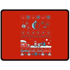 That Snow Moon Star Wars  Ugly Holiday Christmas Red Background Double Sided Fleece Blanket (large)  by Onesevenart